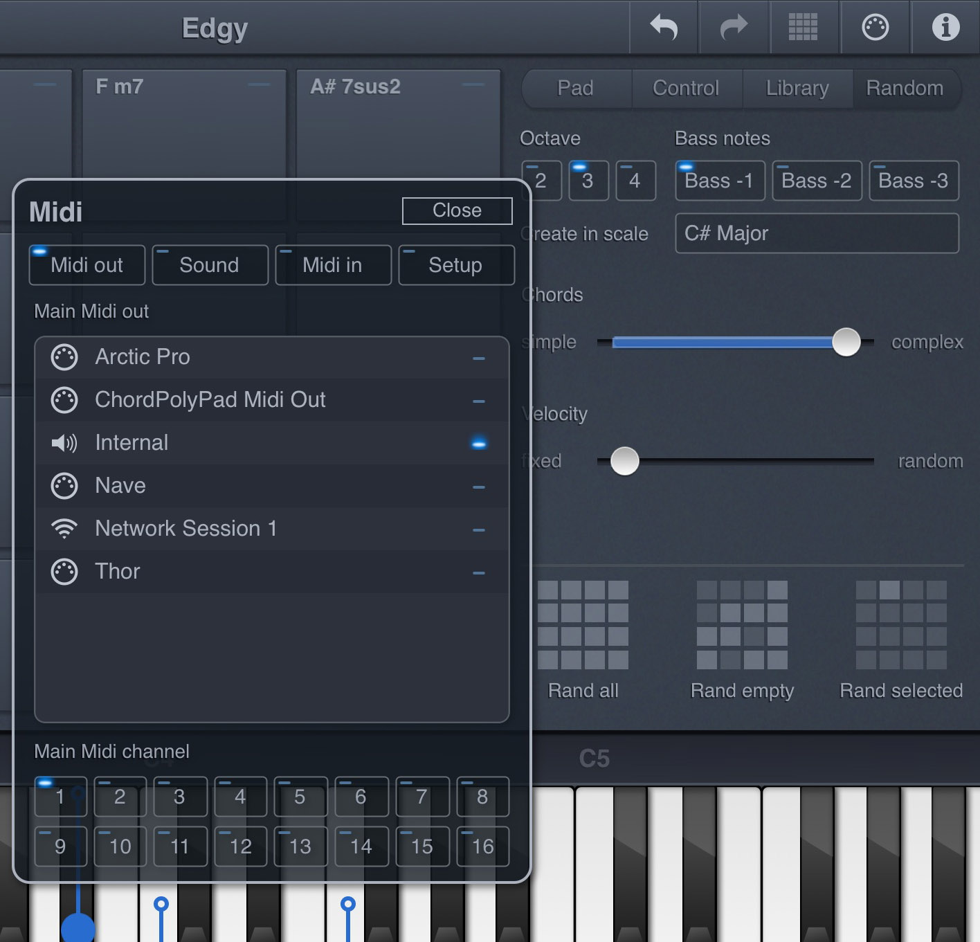 Chordpolypad review midi chord generator app from laurent colson if you want the app to suggest some chords for you try the random tab hexwebz Images