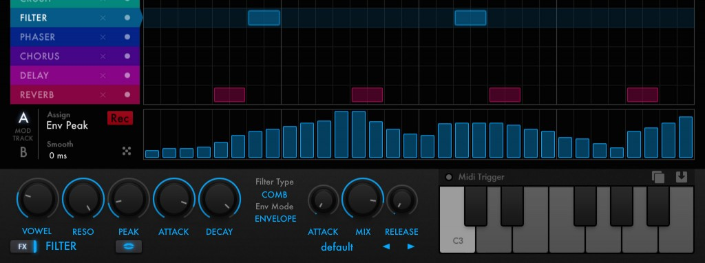 The modulation sequencer section add a whole range of additional creative possibilities allowing you to automate two parameters for each effect within your sequence.