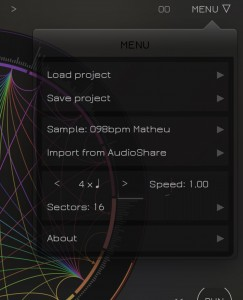 Sector's menu options allow you to access the presets, set the number of sectors and load or import a loop.