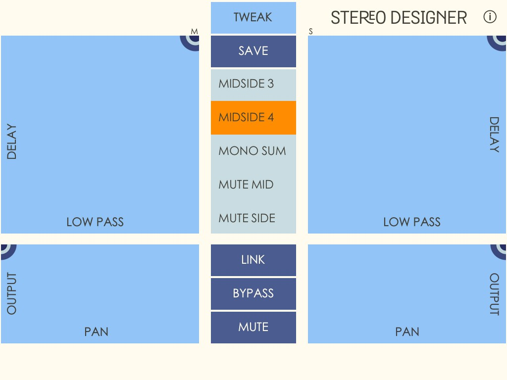 Stereo Designer being used in mid-side configuration. Note the 'M' and 'S' labels at the top of the control set and that one of the mid-side presets has been selected.