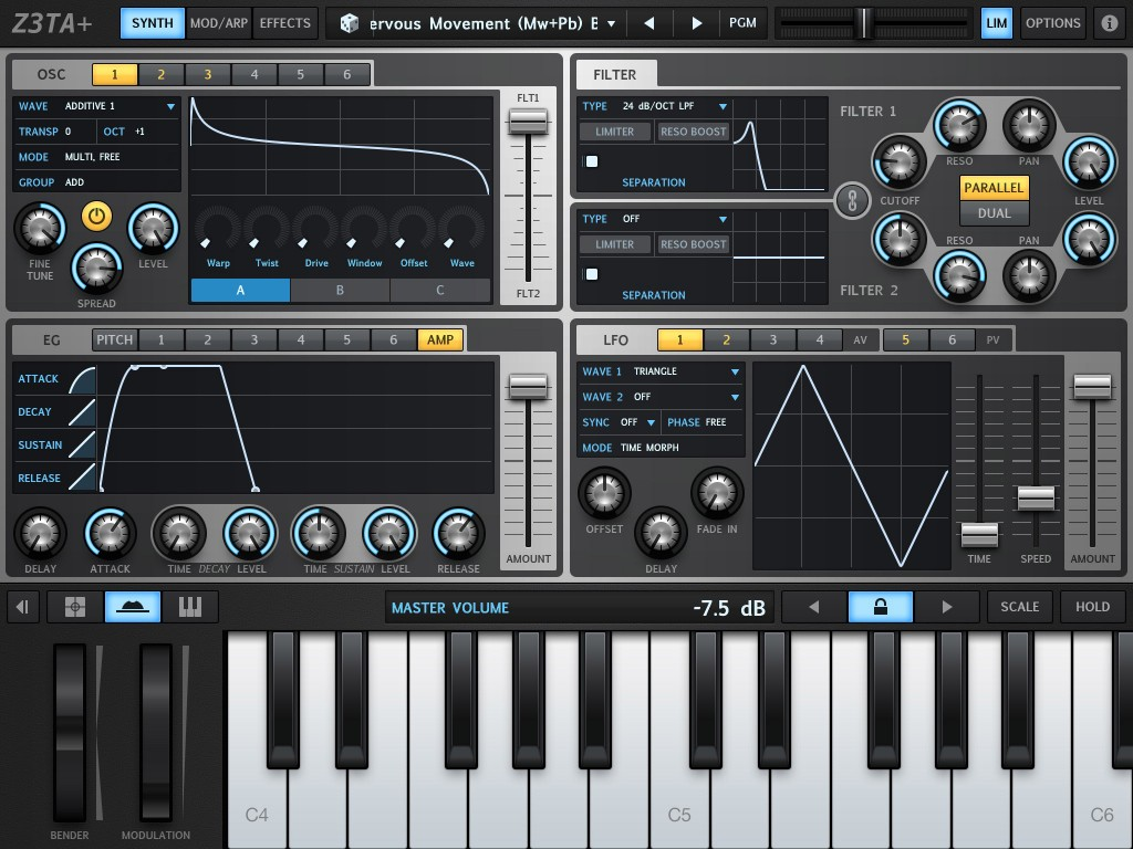 Z3TA+'s Synth page provides access to the oscillators, filters, envelopes and LFOs.