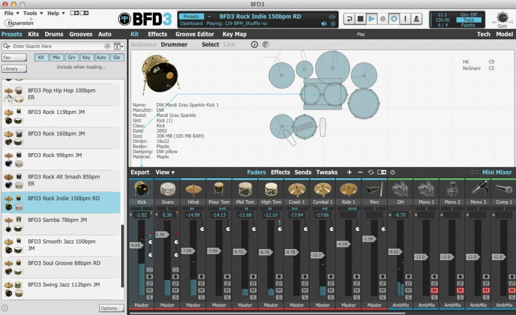 On the desktop platform, virtual drummers such as BFD3 provide utlra-realistic acoustic drum performances with almost limitless control.