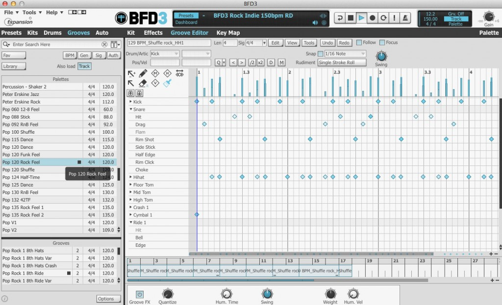 BFD3 provides a brilliant MIDI-based pattern environment and a huge library of preset patterns organised into different musical styles.