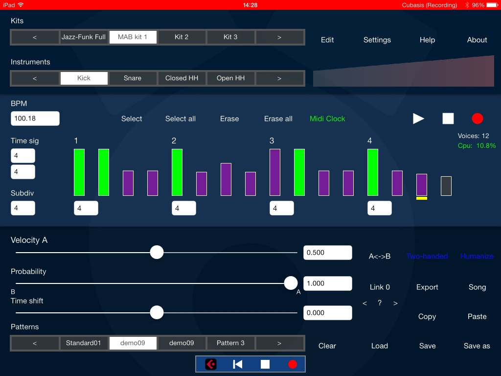 DrumPerfect - and iOS-sized virtual drummer - and including IAA and Audiobus support.