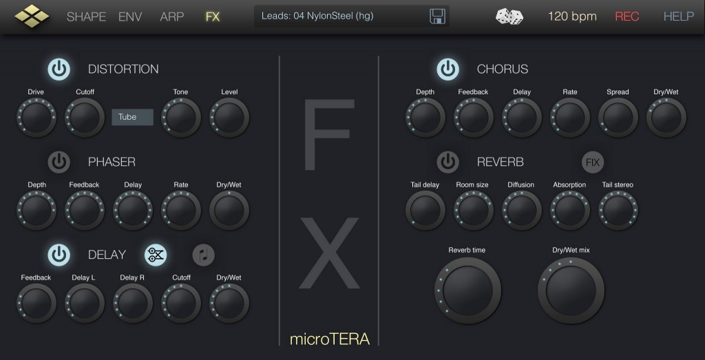 microTERA's effects are easy to use and sound pretty good also.