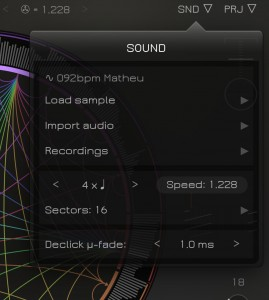 The SND menu provides access to the new micro-fade feature to smooth out the playback of slices.