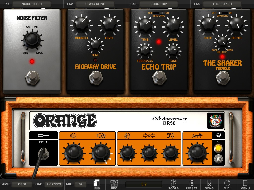 AmpliTube Orange will be familiar to anyone who has used other versions of AmpliTube - aside from the very orange colours :-)