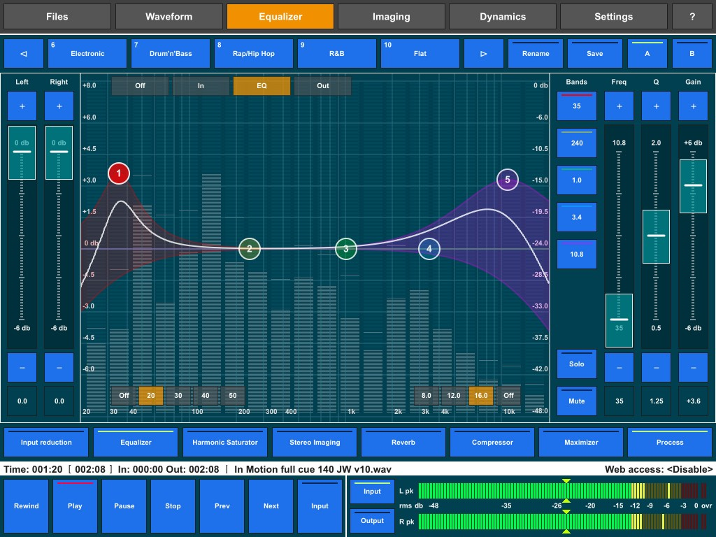 The new low-cut and high-cut EQ filters; a useful addition to the EQ module.
