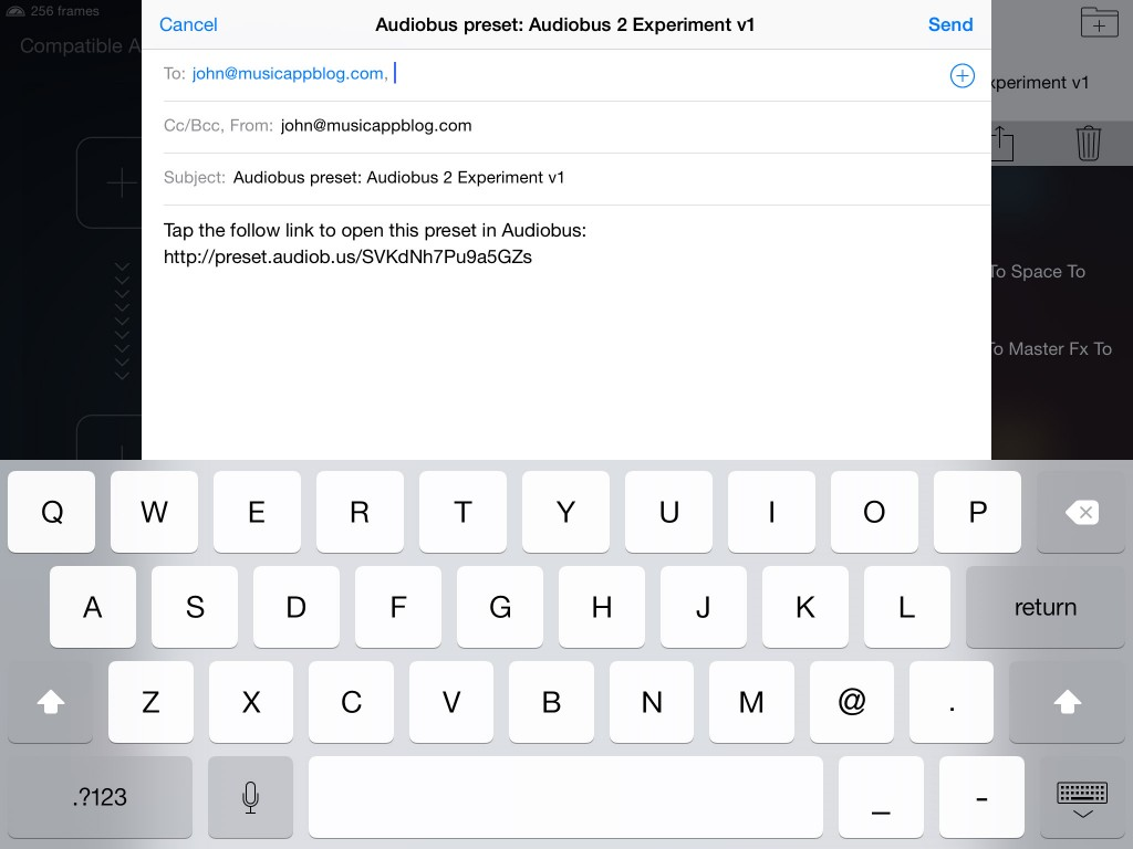 Audiobus 2 allows you to email Presets...  providing a neat way to move them between my two iPads.