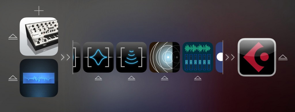If you add more than about four effects, the central portion of the signal chain strip becomes scrollable so you can easily move between apps.