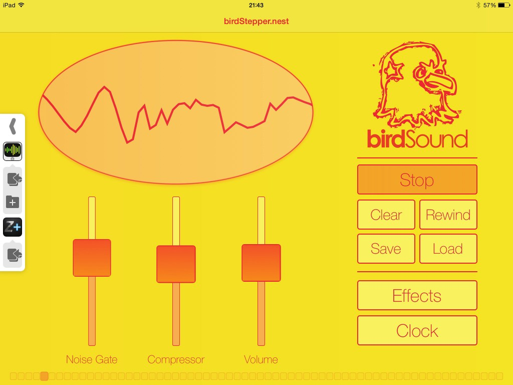 birdStepper's main screen - simple and effective - and very yellow :-)