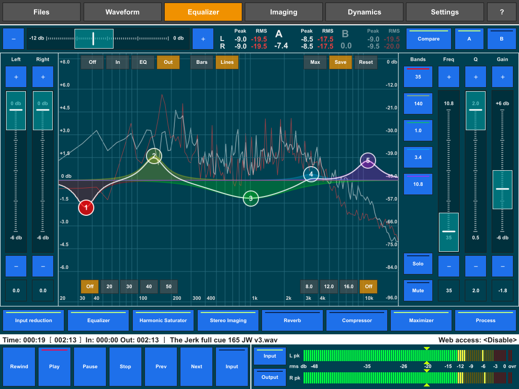 Audio Mastering 2.5 allows you to capture a line-based snapshot of your frequency spectrum and also provides equal loudness A/B comparisons.