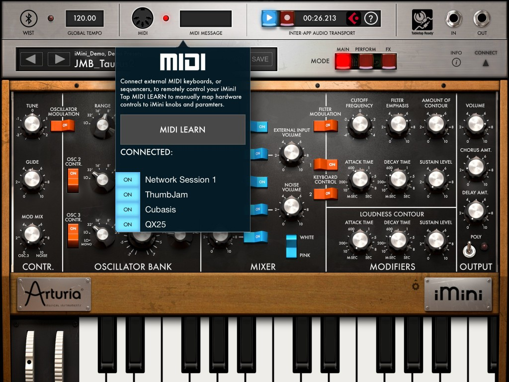 iMINI has an excellent MIDI Learn system and this makes it easy to use a hardware controller with the app. This, in teurn, makes it easy to send MIDI CC data out to Cubasis to be recorded along with note data on a MIDI track. The same principle (minus the note data) can be used with some iOS effects apps such as the AUFX series.