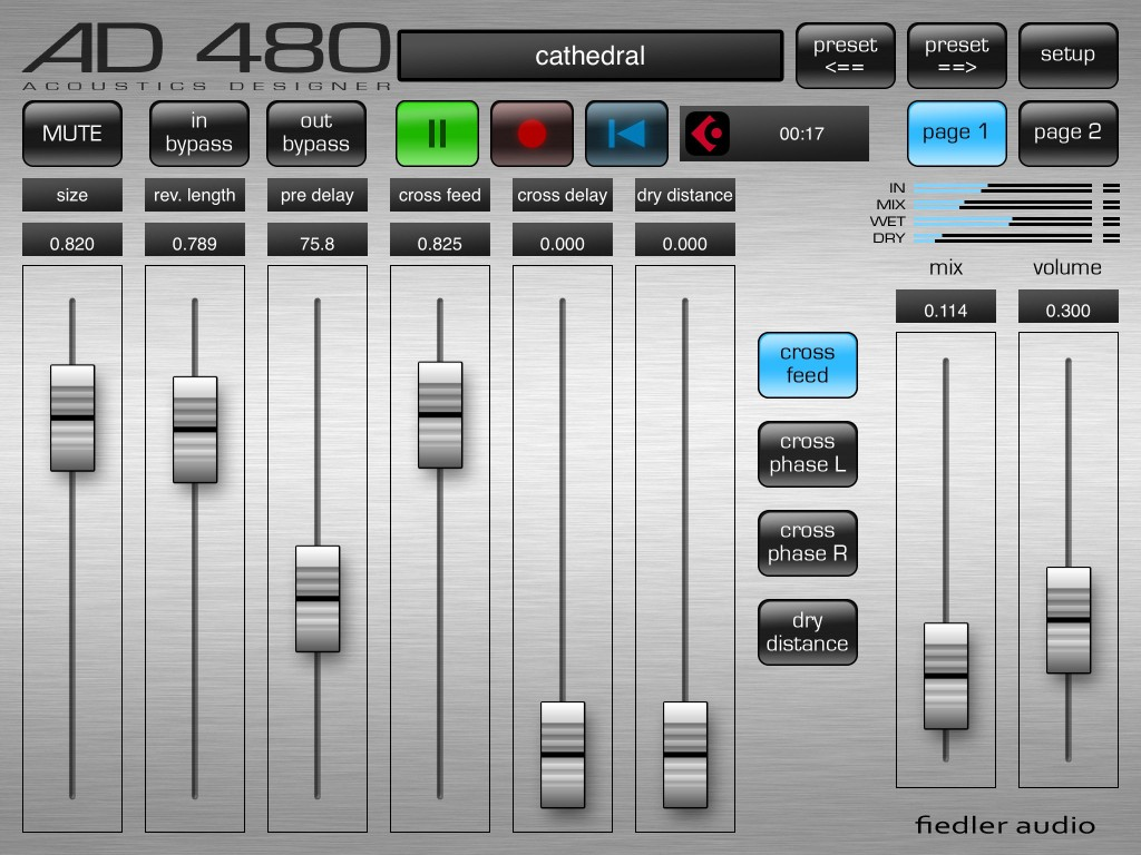 The AD 480 Pro version - the main reverb controls are spread over two pages when used on the iPad.