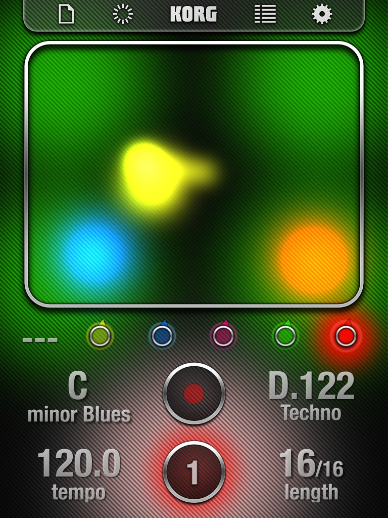 iKaossilator's main screen - you even get disco lighting effects thrown in for free :-)