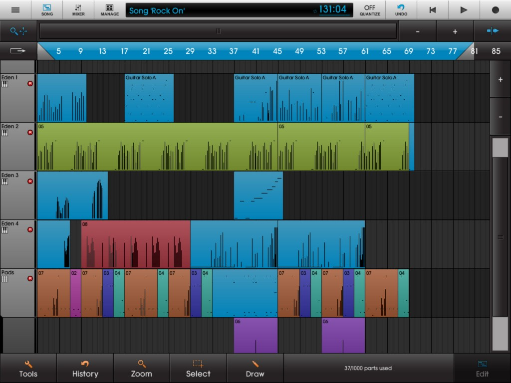 NanoStudio offers a well featured MIDI editing environment for your compositions.