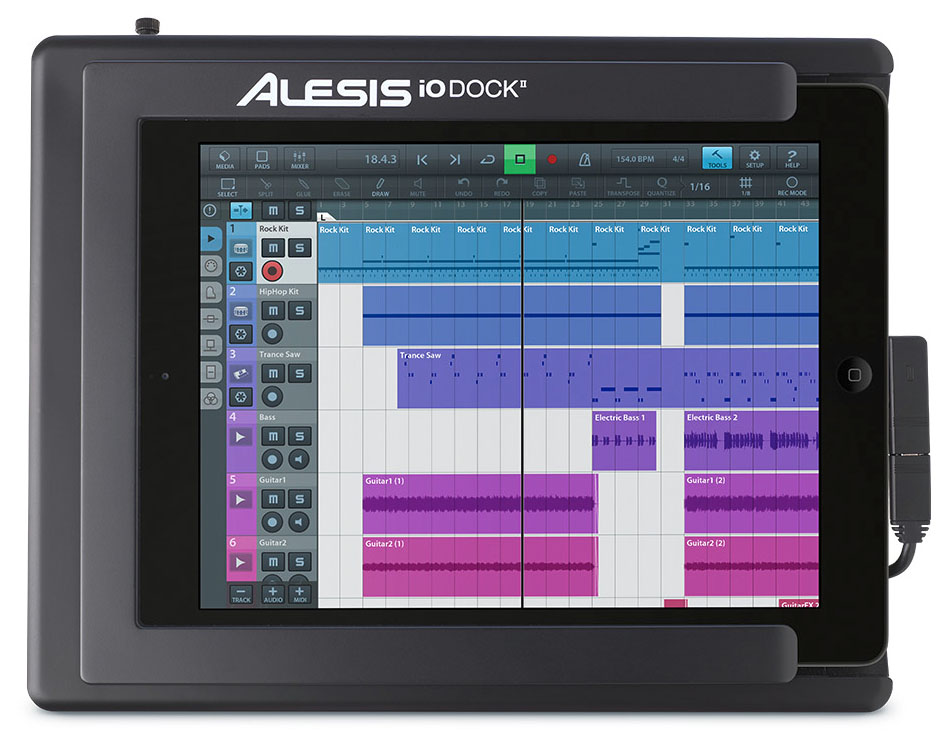 Alesis iODock II; convenient and compact, it turns your iPad into a very useable 2-in/2-out recording system with MIDI support.