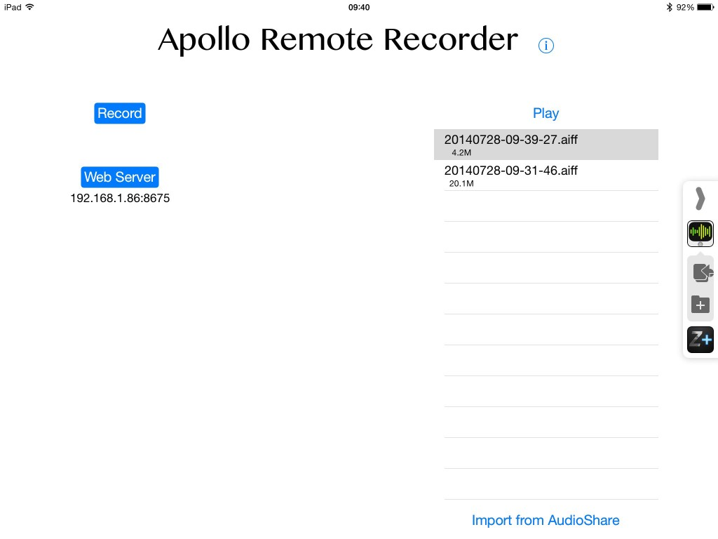 Apollo Remote recorder might not be the most exciting interface you see on an iOS music app but this simple front-end contains some useful technology.