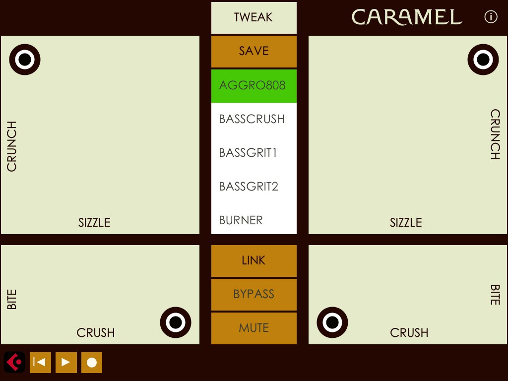 Caramel's 'Perform' mode is ideal for some hands-on distortion control :-)