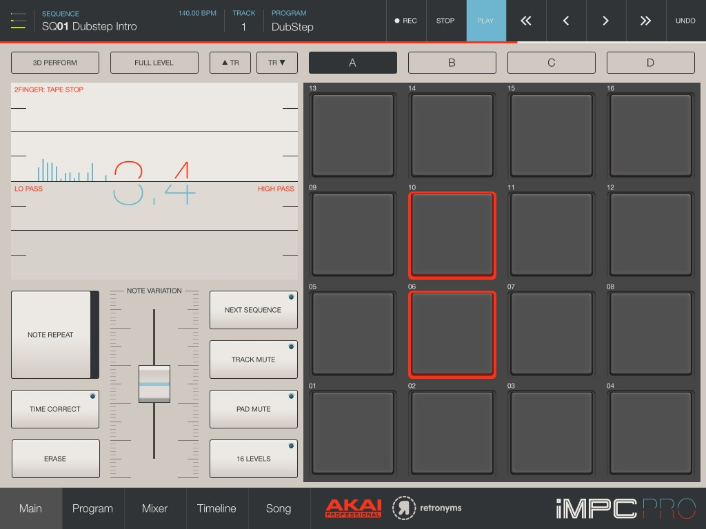 iMPC Pro's main interface - very cool and very well featured.