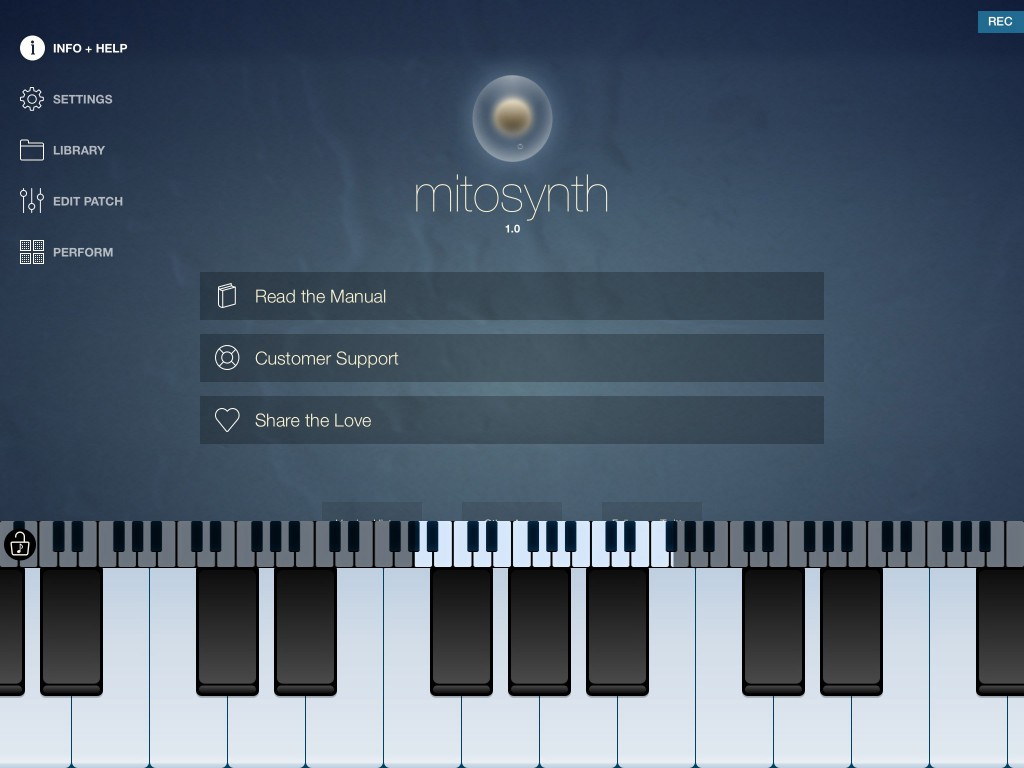 On first start, Mitosynth presents a very low-key (no knobs!) interface.