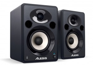 The Elevate 5 monitors from Alesis. I've got a pair of these myself and, while they are not the greatest speakers I have ever used, for the price, they make a neat, portable and vey useable solution alongside my iPad.