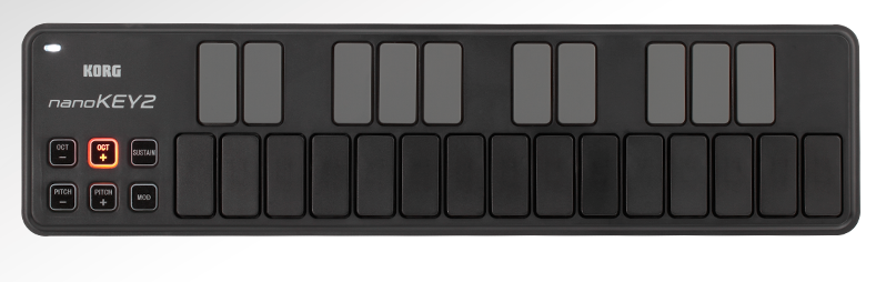 The number of keys provided obviously influences both the size and the price of the MIDI keyboard but, if you need something very compact for portability or space considerations, then there are choices out there including the Korg nanoKey2.