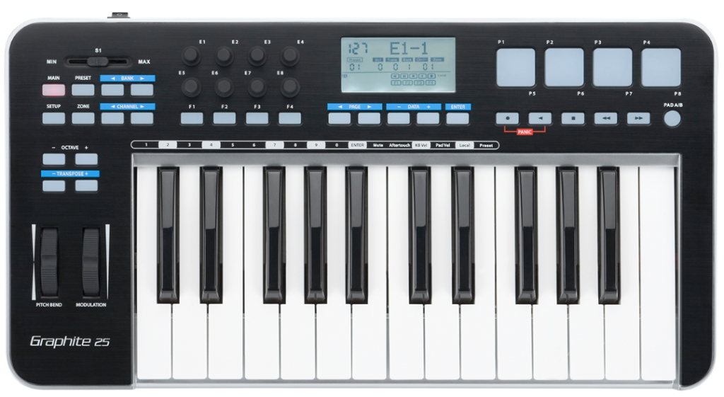Samson's Graphite 25 provides both keys and a good selection of control options.