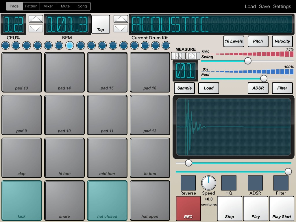 Beat-Machine's main interface; a classic drum machine look....