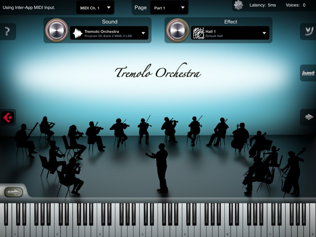 iSymphonic Orchestra's main playing interface is very straightforward.