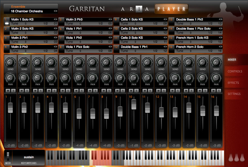 Garritan Personal Orchestra 4 running within Cubase and with a 16 part multi-timbral chamber orchestra loaded.