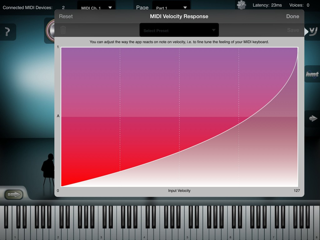 There is some useful adjustment for the MIDI velocity response if you need to tweak it.