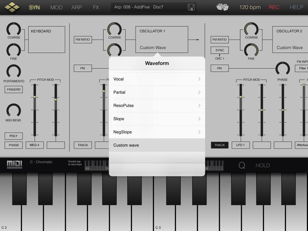 There are a wholoe range of pop-up menu options that appear to allow you to configure many of the synth's settings.