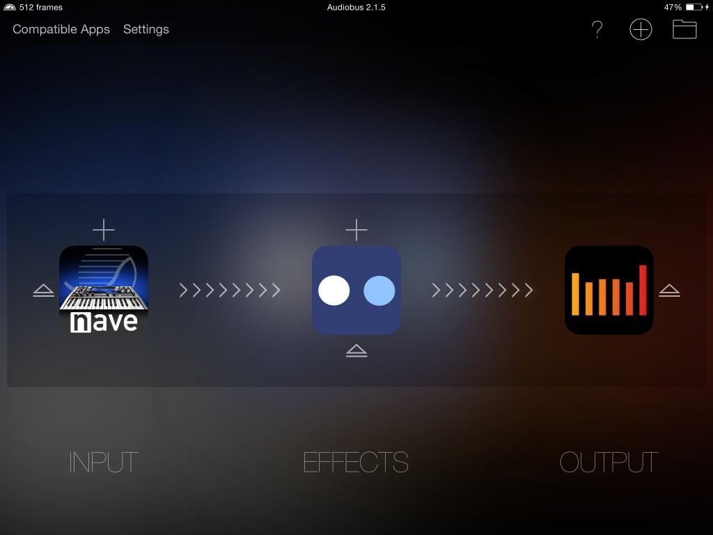 Auria seems quite happy running within Audiobus 2 under iOS8.