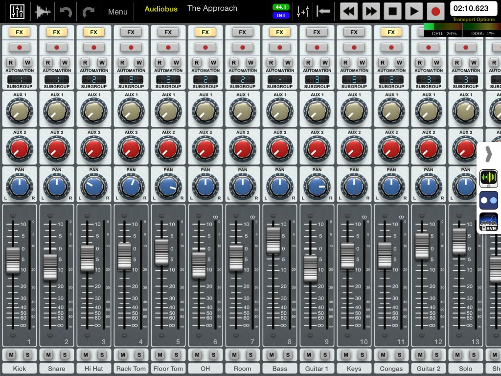 Auria's virtual mixer is very well featured and includes a good automation system.
