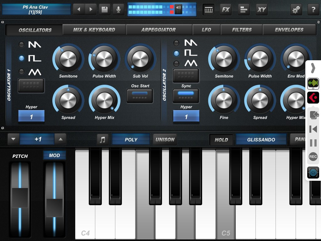 Under iOS8, I saw all the usual Cubasis transport controls within the Audiobus control strip (as shown here) but not when running Cubasis 1.8.2 under iOS7. Hopefully, there is some sort of fix possible for this for those that choose not to upgrade to iOS8.