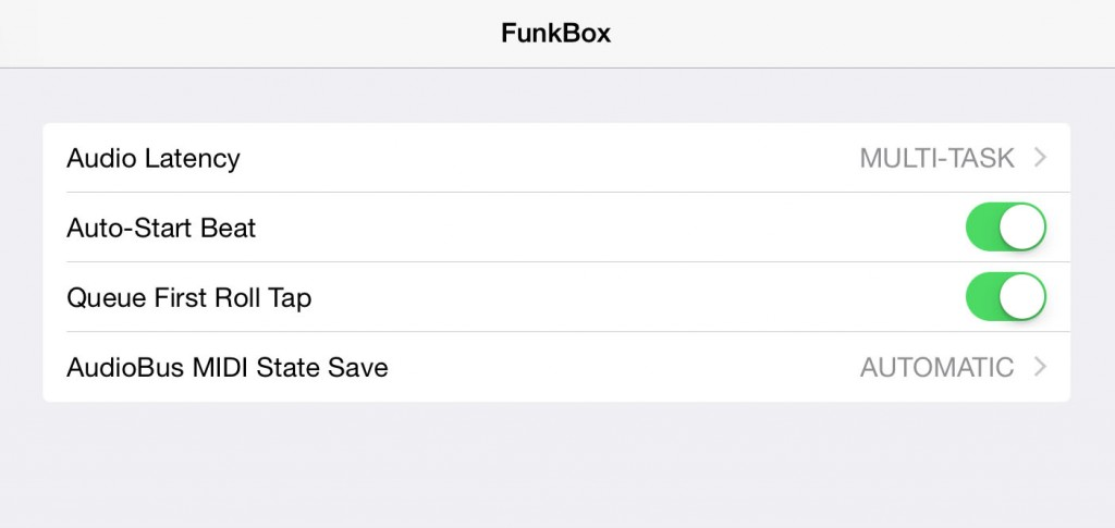 In the iOS8 Settings app you can configure some of Funkbox's settings including the new queue option for the snare rolls.