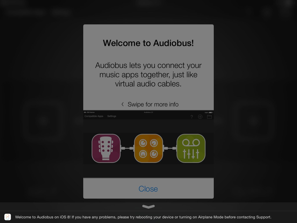 Audiobus has been updated to v.2.1.6 and you get a very friendly iOS8 message at the base of the screen when you first run the update :-)