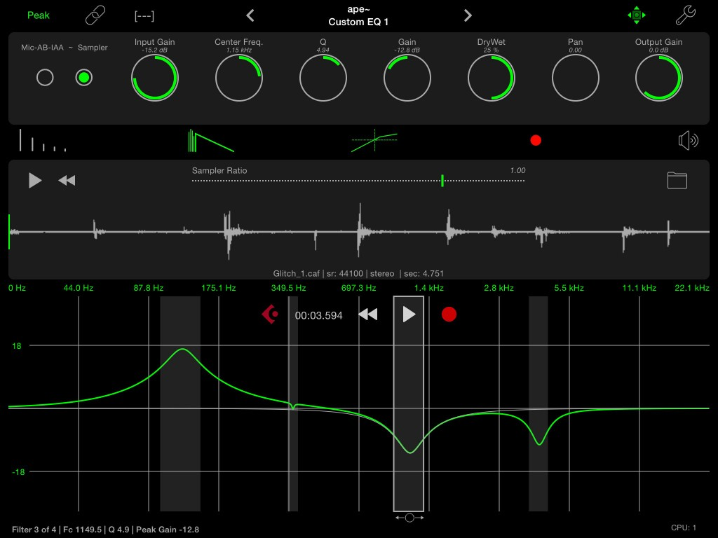 apeFilter's main screen on the iPad. All the key controls are laid out in five strips from top to bottom.