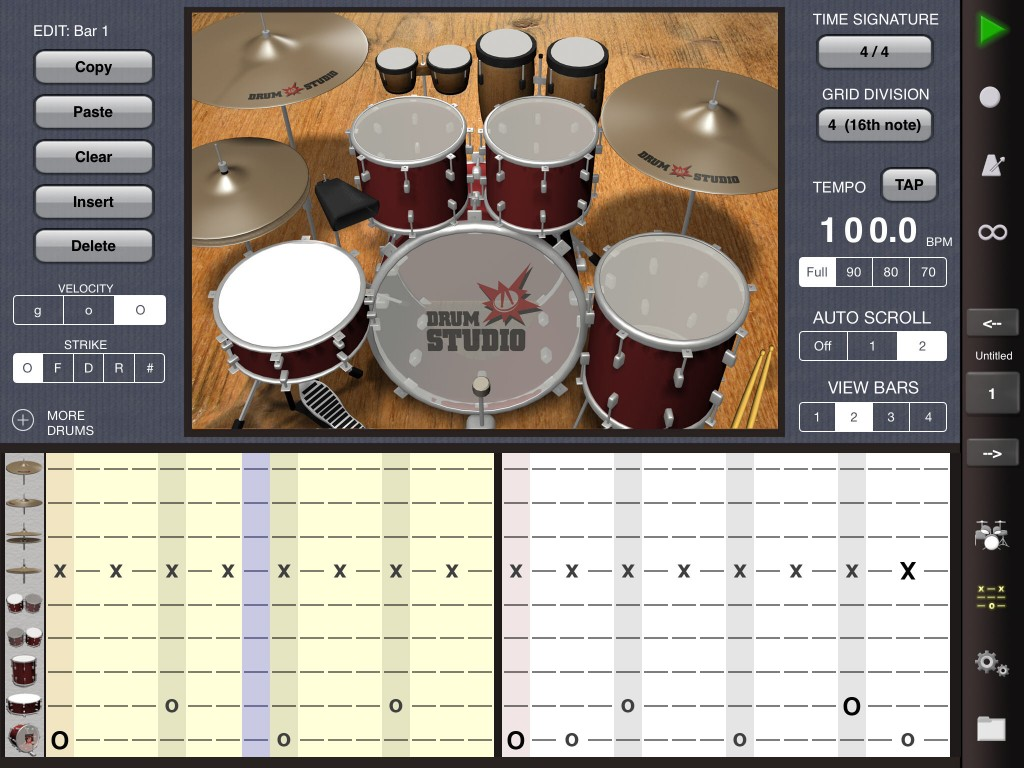 As well as a playable virtual kit, you also get a drum tab sequencer....