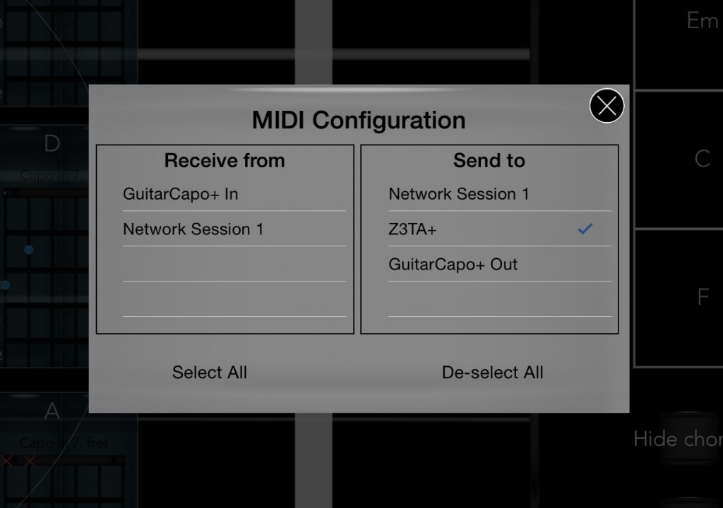The MIDI settings dialog allows you to send GuitarCapo+'s output to any other iOS MIDI app you have running.