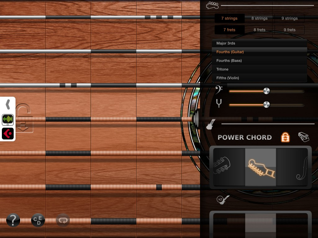 iFretless Guitar - the main interface shares features with the bass and sax models.