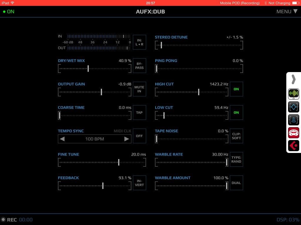AUFX:Dub; a dedicated delay app for iOS.