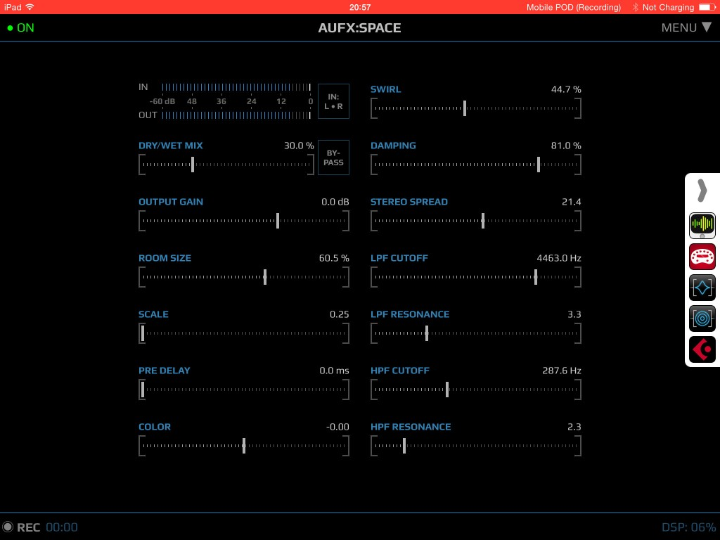 AUFX:Space; quality iOS reverb in a streamlined format.