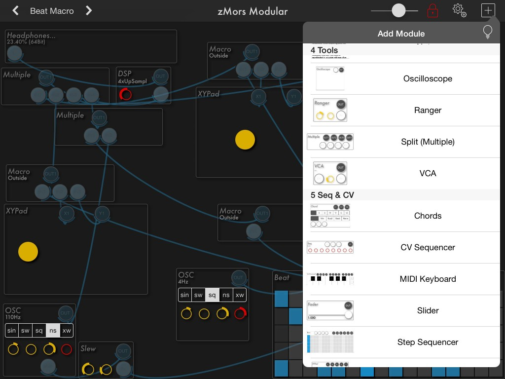The app includes a large number of components to build your virtual synth designs with.