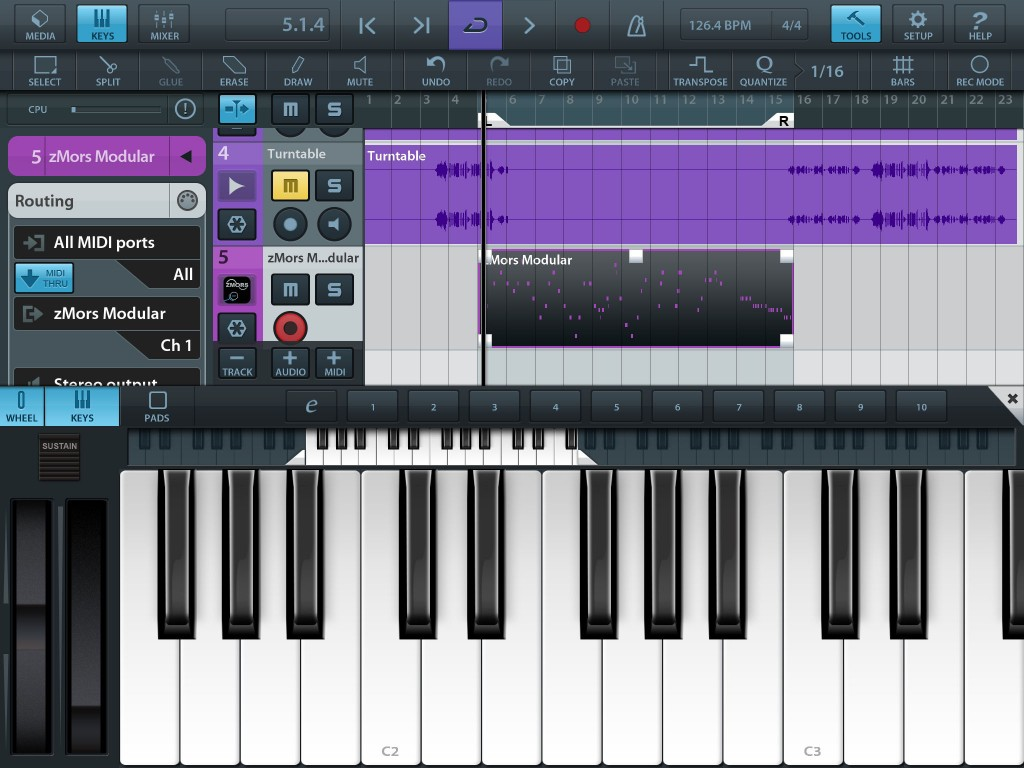 zMors Modular worked very smoothly for me via IAA within Cubase both as an audio source and, as shown here, via a MIDI track.