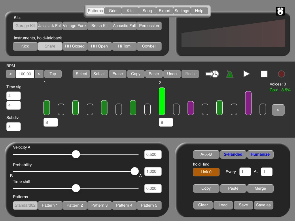 DrumPerfect's UI has been tweaked to allow easy access to all the features.