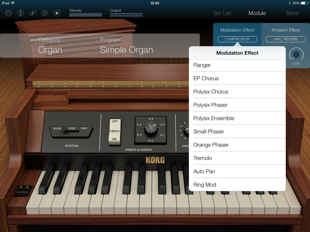 The app allows you to use two effects at a time including those from the modulationgroup...  although note that those cover a much wider range of effects types than just modulation.
