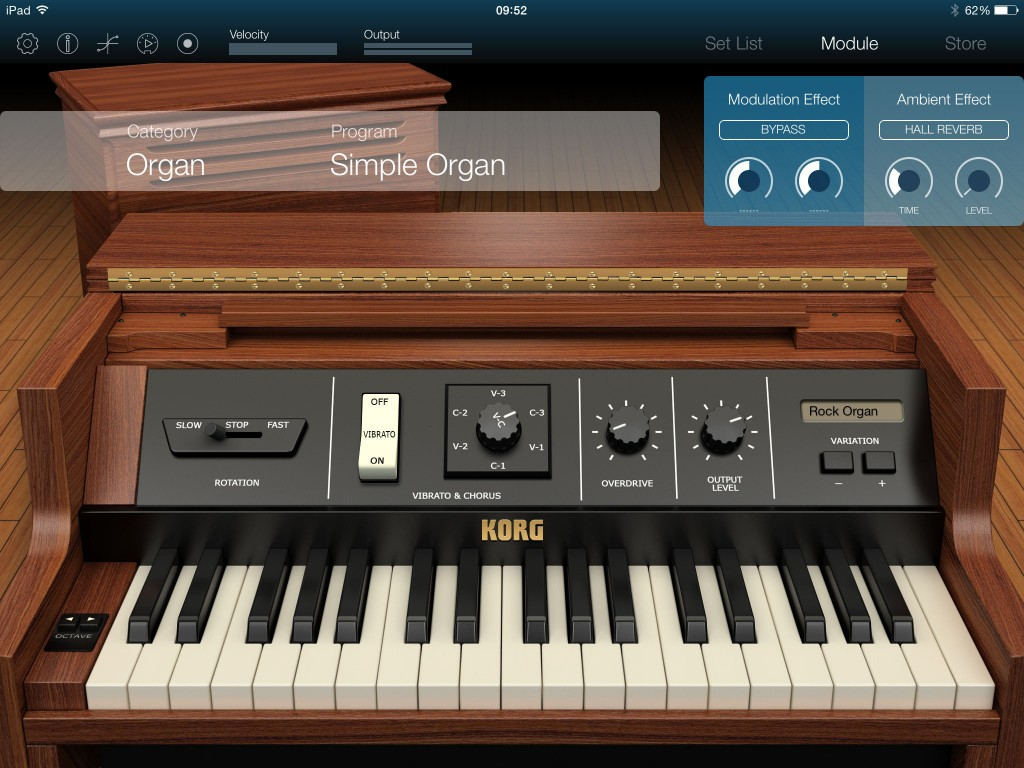 Each of the sound 'engines' features a different interface as shown here for the organ engine.