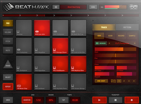 BeatHawk - very slick looking beat/groove/sample production tool for iPad.